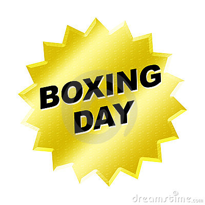 Yellow boxing day sign - web button - internet design.