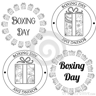 Boxing day stamps, tags Vector Illustration