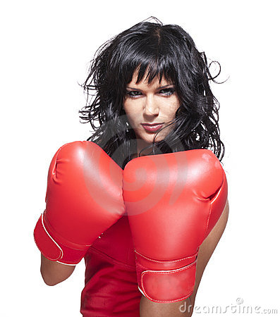 Boxing fighter woman in defence