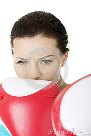 Boxing fitness woman wearing red boxing gloves