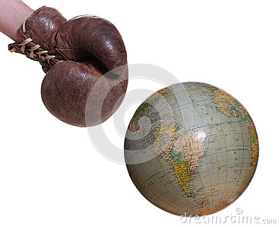 Boxing glove and globe