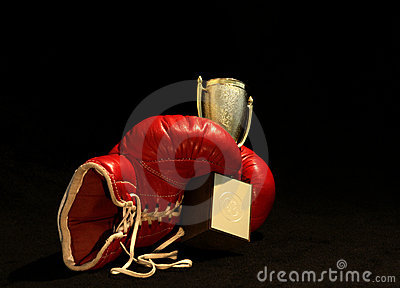 Boxing glove and a shining cup