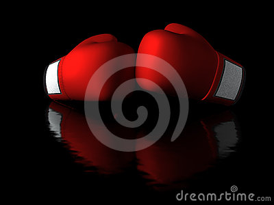 Boxing gloves in dark background