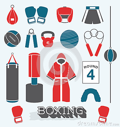 Free Boxing, Icon, , Fitness, Glove, Ring, Boxer, Muscle, Vintage, Strong, Belt, Arm, Illustration, Fighter, Mma, Champion, Train Stock Photography - 40335402