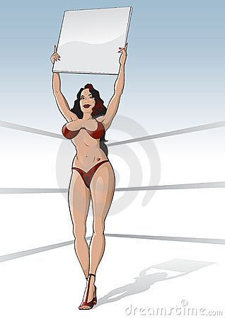 Boxing ring girl with blank card