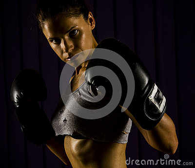 Boxing, strong, fit woman