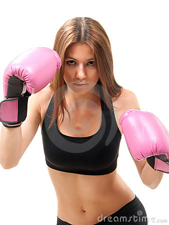 Free Boxing Woman In Pink Box Gloves Ready To Attack Royalty Free Stock Photo - 20784755