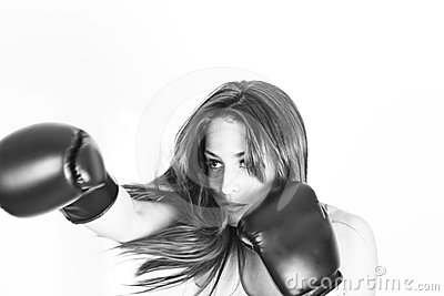 Boxing young girl