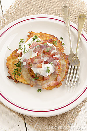 Boxty, Irish Pancake With Sour Cream Stock Photo - Image: 41579267