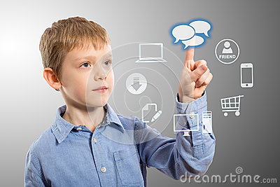 Boy accessing futuristic entertainment applications