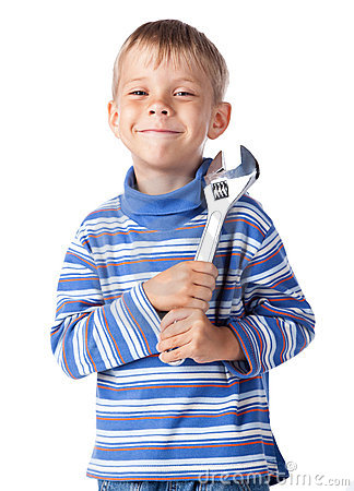 Boy with adjustable spanner
