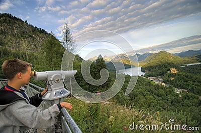 Boy admiring Bavarian land