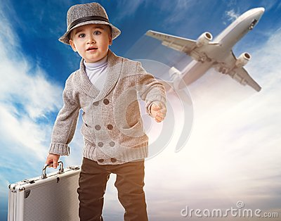 Boy against flying plane
