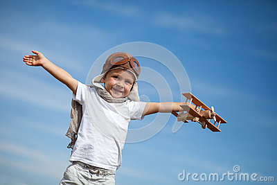 Boy with airplane on air fest