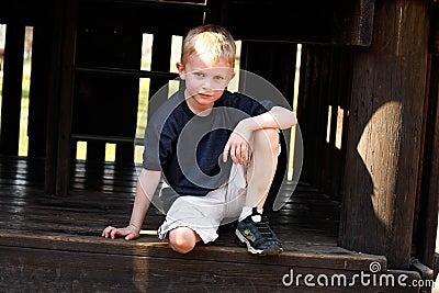 Boy in alcove