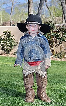 Boy in alligator boots