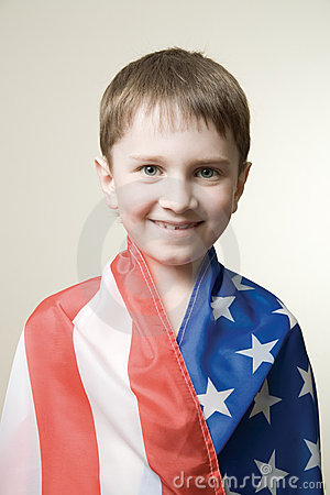 Boy in american flag