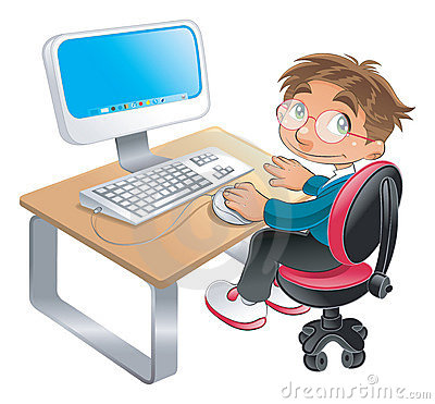 Free Boy And Computer Stock Photography - 7176142