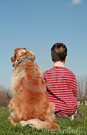 Free Boy And Dog Sitting On A Hill Stock Image - 4821481