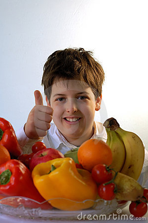 Free Boy And Fruits Stock Photos - 4122703
