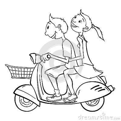 Free Boy And Girl On A Scooter Stock Images - 51362434