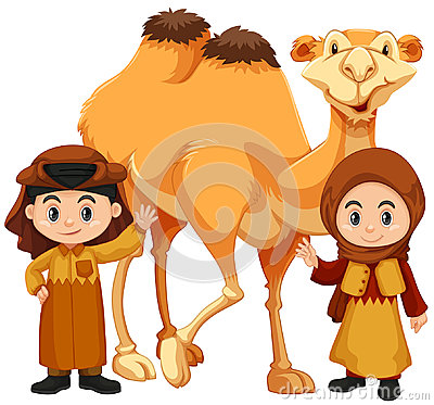 Free Boy And Girl Standing With Camel Stock Photography - 94994492