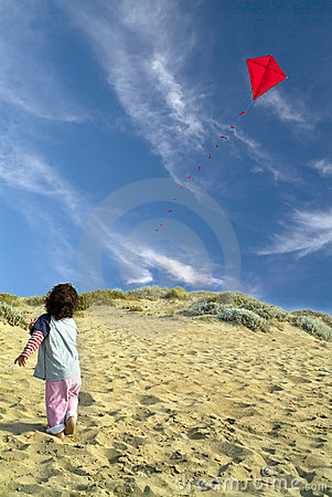 Free Boy And Red Kite Stock Image - 5010651