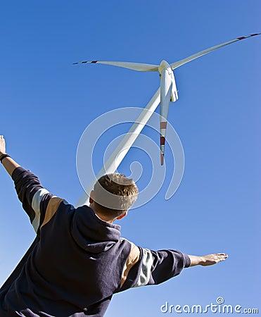Free Boy And Wind Turbine Royalty Free Stock Photo - 5474565