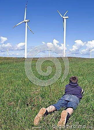 Free Boy And Wind Turbines Stock Photos - 5474693