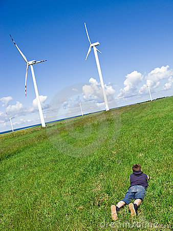 Free Boy And Wind Turbines Royalty Free Stock Photography - 5535307