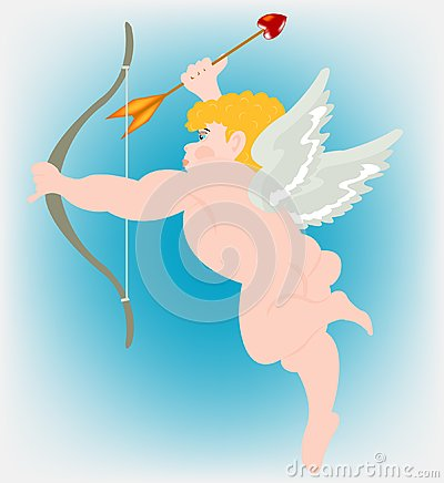 Boy angel with wing and dart of the amur