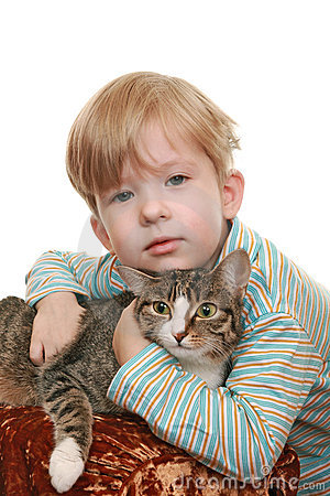Boy with an angry cat