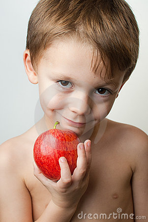 Boy with an apple