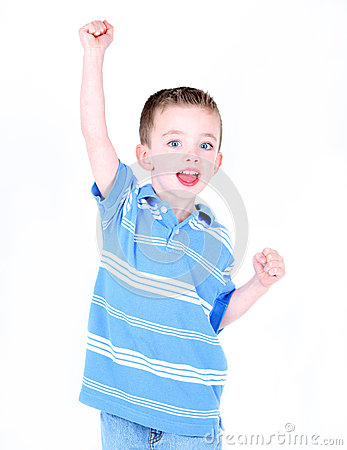 boy with arm in the air