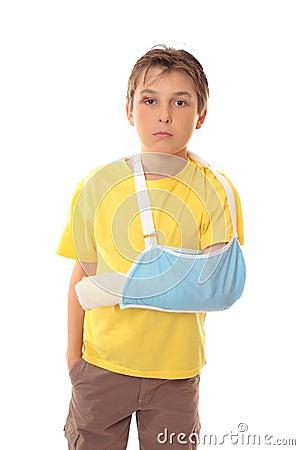 Boy in arm sling