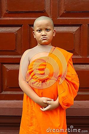A boy as buddhist novice asia