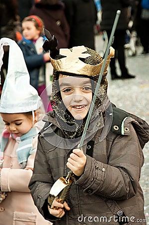 A boy as a crusader Editorial Stock Image
