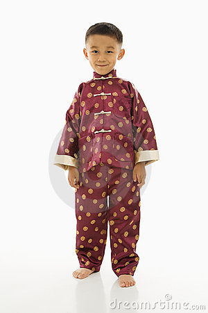 Boy in Asian attire.