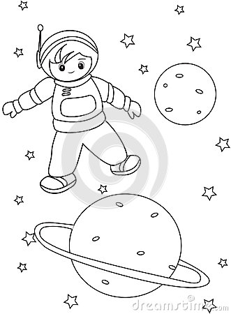 Boy Astronaut Coloring Page Stock Illustration Image