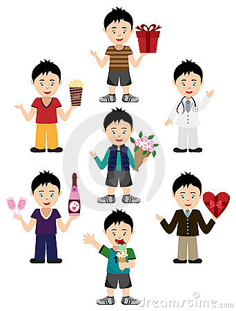 Boy Avatar with diverse expressions and outfits
