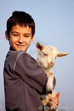 A boy with baby goat