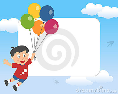 Boy with Balloons Photo Frame