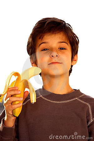 A boy with banana