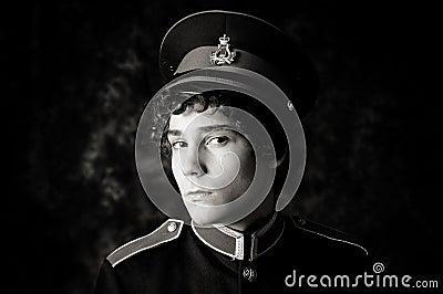 Boy in band uniform