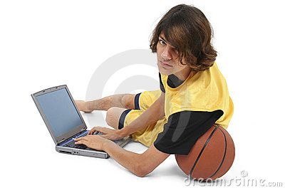 Boy With Basket Ball And Laptop Computer