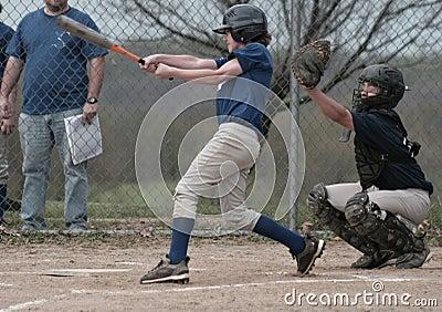 Boy Batter Batting Baseball