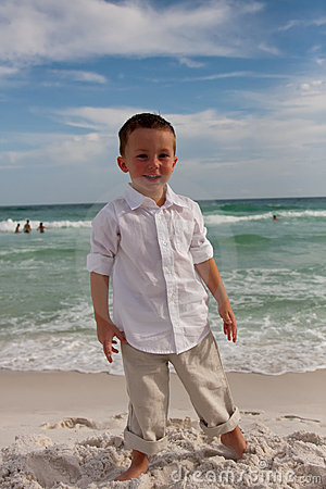 Boy on the beach having fun