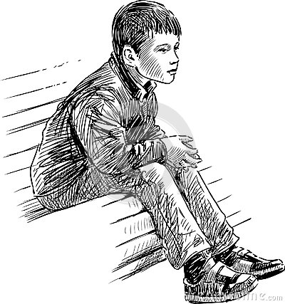 Boy On Bench Stock Photo Image 31517830