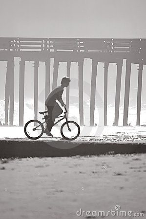 Boy, Bicycle, Beach