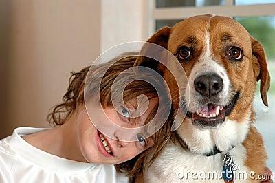 Boy and big dog